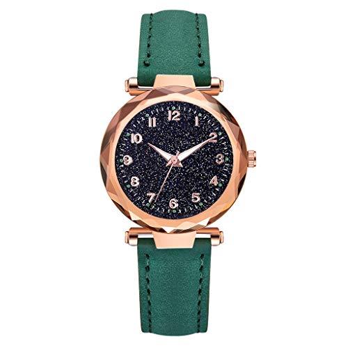 TWISFER Einfach Fashion Damen/Frauen Leuchtend Armbanduhren Sternenklarer Zifferblatt Leder Armband Analog Quarzuhr Armbanduhr Mode Geschäfts beiläufiges Uhr