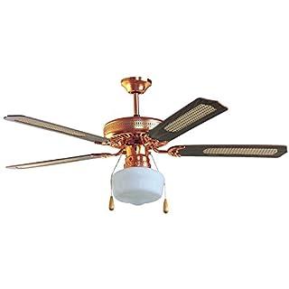 Ardes ar5a130d Deckenventilator mit Licht, 3Geschwindigkeiten, 5Flügel Reversible Steuerung Zugschnur, Walnuss/Stroh von Wien, Durchmesser 130cm
