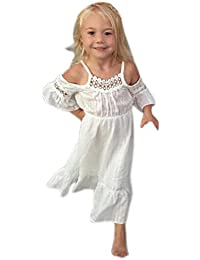 Para 1–5años de edad de niñas, deloito vestido de princesa de color blanco vestidos de encaje para niños boda eventos