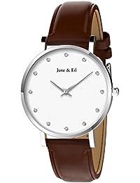 June & Ed Cuarzo Acero Inoxidable Correa Reloj de pulsera para Mujer con la ventana del dial de cristal de zafiro W-2001