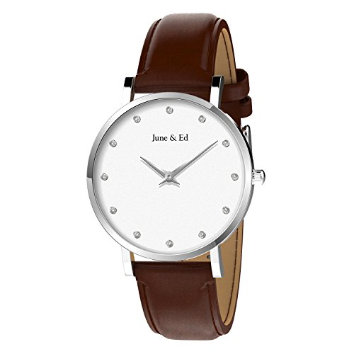 June & Ed Damen-Armbanduhr Uhr Edelstahl Analog Quarz mit Saphir Kristall W-2001