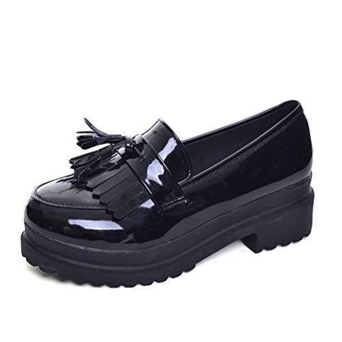 Zapatos Oxford Charol Mujer Plataforma Pisos Primavera