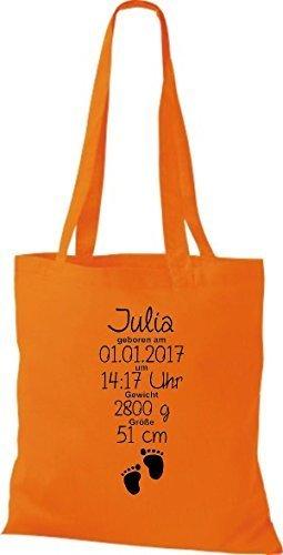 Shirtstown Stoffbeutel ein tolles Geschenk zur Geburt mit deinen persönlichen Initilien Fußabruck Orange