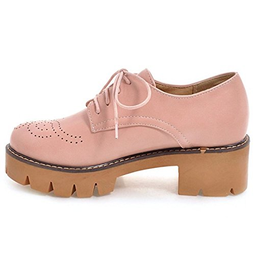 COOLCEPT Femmes Mode Lacets Court Shoes Bout Ferme Escarpins Bloc Chaussures Fille Ecole Rose