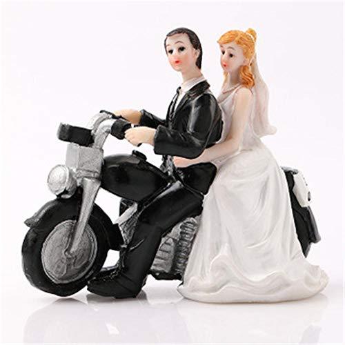 n Hochzeit Motorrad Romantisches Paar Kleine Skulptur Braut Puppe Dekoration Handwerk Top Kuchen Garten Blumentopf Dekoration Ornamente Dekoration ()