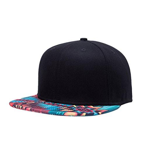 Imagen de linnuo  de béisbol snapback hip hop cap plano sombrero carta impreso baseball hats unisex negro,one size