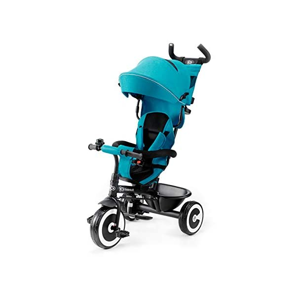 Kinderkraft Aveo KKRASTOTRQ0000 Tricycle with Accessories in 3 Colours Blue kk KinderKraft Five point safety straps for the shoulders and an additional strap between the legs to protect the child from falling out A mechanism that connects the parent handlebar with the child's handlebar so that parents can have full control over the bike guidance when required. Free-wheel that causes the child to rmble freely regardless of the person who leads the bike 1