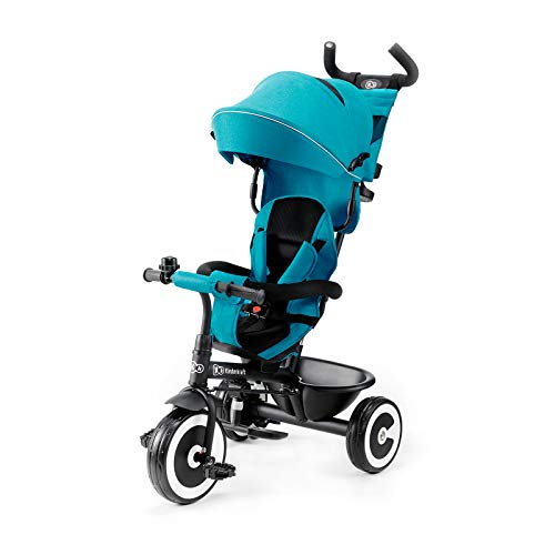 Kinderkraft ASTON Tricycle Enfant Évolutif, Canne Télescopique Amovible, Bleu