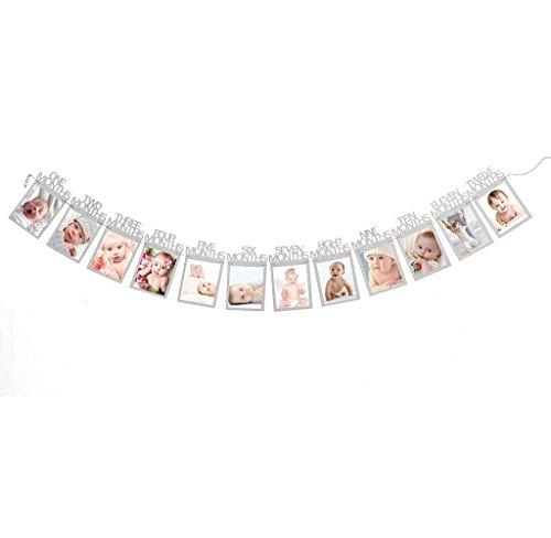 Covermason Für 1-12 Monate Baby monatlich Bilderrahmen Foto Banner (Silber)