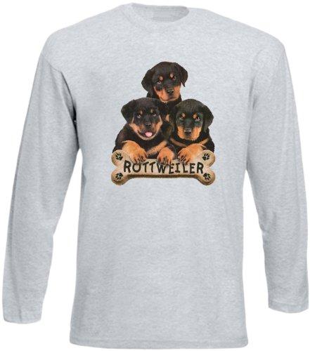 Cooles Herren Langarmshirt, Farbe: Grau, USA Hunde Motiv: Rottweiler Grau