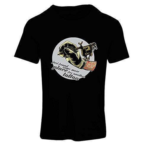 Frauen T-Shirt Aerograph - Tätowierungs-Tinten-Maschine, ist jeder Zoll tätowiert, Coole Spitzen, Fan-Kleidung, Spaß-Geschenk-Ideen (Small Schwarz Mehrfarben) - Tätowierungs-tinte Billige
