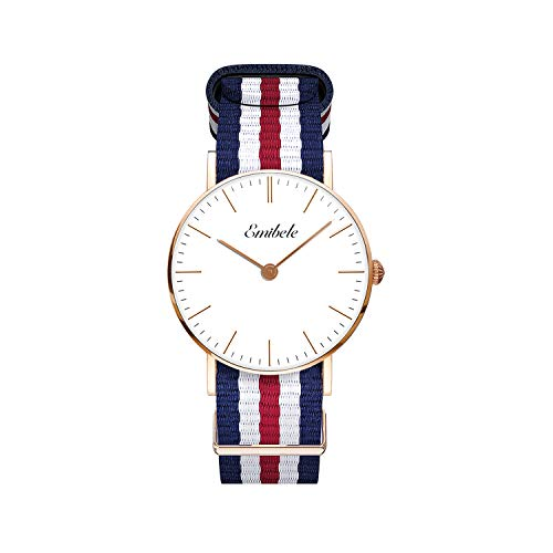 Emibele Women Stainless Steel Quartz Watch, Fashion 50M Water Resistant Wristwatch with Five-Striped Nylon Band - Rose Gold Dial + Blue & White & Red Band (Stainless Steel Watch Band, White)