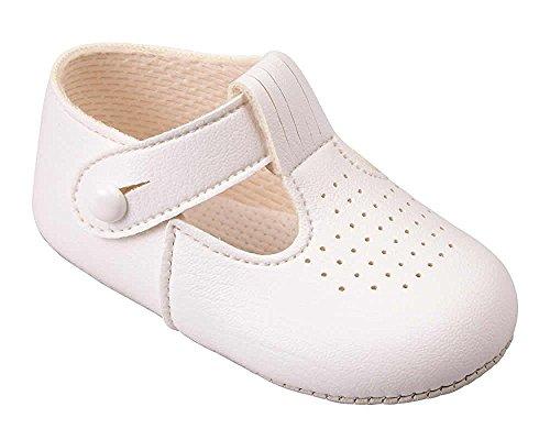 Baypods Luxusbriten machten Baby-hellblaue, weiße, Creme/Elfenbein-und glänzende Schwarz-spezielle Anlass-Hochzeits-Geburtstaufbaypoden-Schuhe durch frühe Tage (EU 20 (12-18 Monate), Creme/Elfenbein)