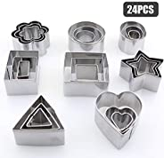 Decdeal 24PCS Cookie Cutters Set with Stainless Steel Box Polygon Shape Biscuit Bread Fondant Cutters Mousse C