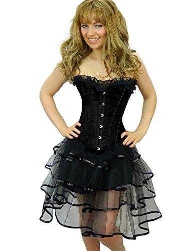Erwachsene Tutus Schwarzen Kostüm Für Mit - Yummy Bee - Burleske Verstärktes Korsett mit Tutu Rock Karneval Fasching Kostüm Damen Größe 34 - 56 ( 50-52, Schwarz LongRib)