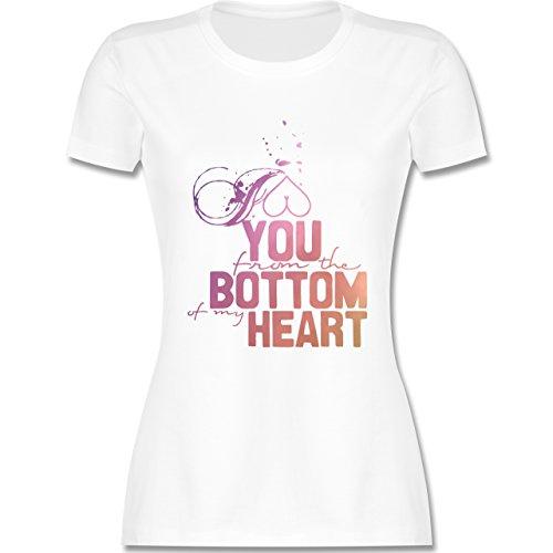 Statement Shirts - I love you from the bottom of my heart - tailliertes Premium T-Shirt mit Rundhalsausschnitt für Damen Weiß