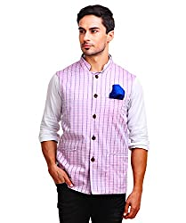 Chokore Mens Reversible Pink with White & Blue Checks / Blue Cotton Nehru Jacket