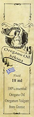 Athina Oregano Öl Bio, 100% ätherisches Oreganoöl Origanum vulgare, aus Griechenland, 80% Carvacrol, 1 X 10 ml