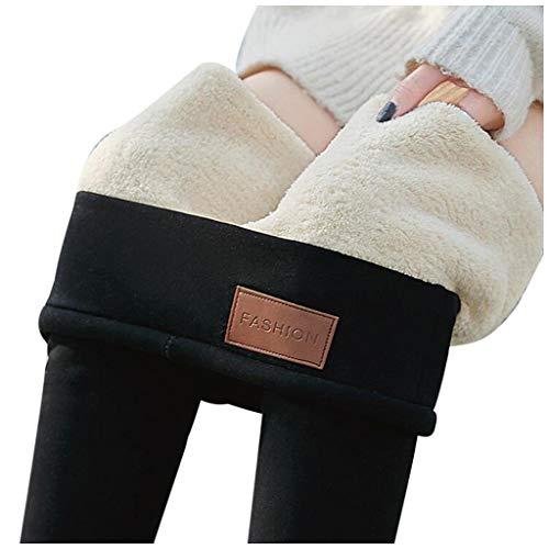 Riou Damen Leggings Winter Warm Dicke Samt Wolle Gefüttert Thermoleggings (XXL, Schwarz)