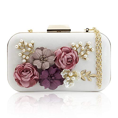 Weiß Abend-handtasche (ZYXB Frauen Kupplungen Geldbörsen Taschen Blume Umschlag Perle Brieftasche Abend Handtasche Weiß,White)