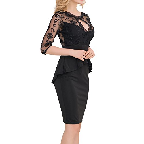 Valin Or80206 Damen Bodycon Kleid Schwarz