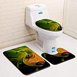 Olydmsky 3D Rana baño Aseo Tres Piezas Coloque Piso Puerta Estera Estera de baño Alfombra