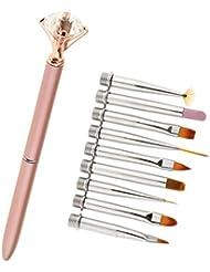 MagiDeal Professionnel Brosse Nail Art Design avec 10 Têtes Changeables Manucure Outils Nail Design Stylo Doigt Décoration Peinture Pinceau Pen à Ongles - Rose