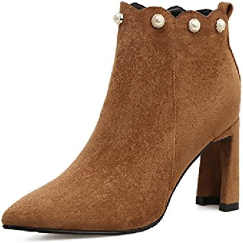 xie Chaussures pour pour pour Femmes Bottes féminines Automne Hiver Suede Pointu Rough avec Bottes Nues Zip latéral Martin...B07JVBBD1JParent 54955f