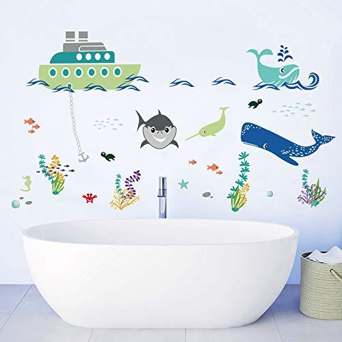 decalmile Bajo el Mar Pegatinas de Pared Barco Tiburón Peces Adhesivos Decorativos...