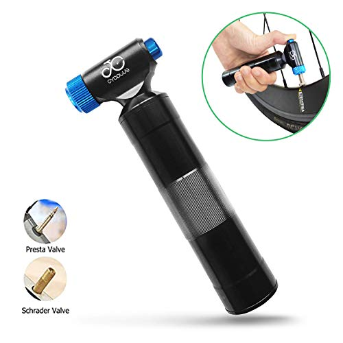 CYCPLUS CO2 Reifenpumpe Fahrrad Mini Pumpe CO2 Inflator kompatibel mit Presta und Schrader Ventil Kartuschenpumpe mit Metallgriffbehälter Keine CO2-Kartuschen enthalten-Blau