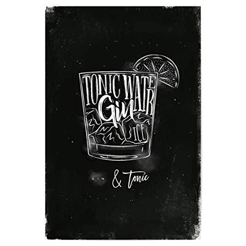 artboxONE Poster 30x20 cm Essen & Trinken/Alkohol Gin Tonic Cocktail Chalk - Bild Cocktail Cold Fresh