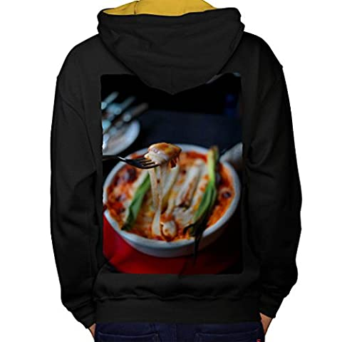 Pasta Recipe Kitchen Food Men M Contrast Hoodie Back | Wellcoda