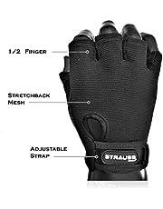 Strauss StretchBack Gym Gloves with Leather Palm Medium