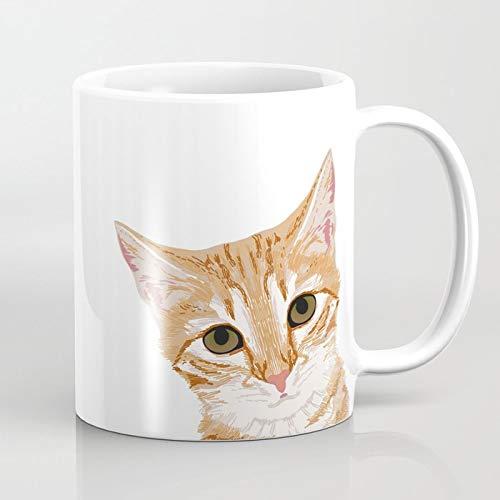 ZIQIZIYU Peek de Chat tigré Orange - Meme drôle de Chat drôle pour des Dames de Chat Gens du Chat 325 ML Tasse à café