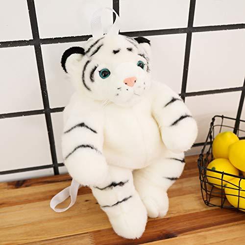 MILUUK Mochila de Peluche de Peluche de Tigre, Bolso de Hombro, muñeca de Juguete de Felpa, Vida como Juguetes de Tigre para niños, niñas, Regalo (Blanco) 40 cm