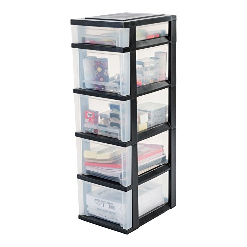 IRIS, Schubladenschrank / Schubladenbox / Rollwagen / Rollcontainer / Werkzeugschrank 'Smart Drawer Chest', SDC-314, mit Rollen, Kunststoff, schwarz / transparent