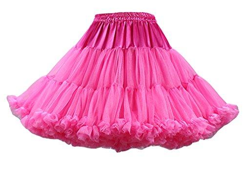 Femme Vintage Jupe en Tulle Ballet Tutu Elastique Robe au Genou Pettiskirt Princesse Plissée Taille Haute Rose