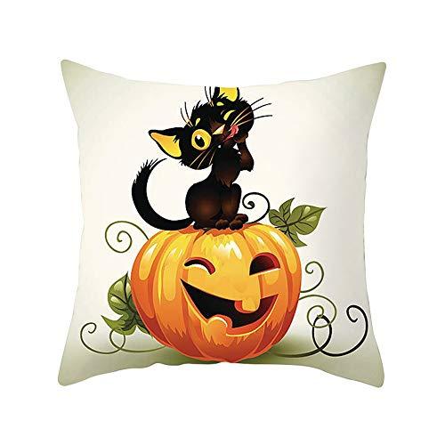 U.Expectating Kissenbezug Halloween Kürbis Schwarze Katze Soft Dekokissen -