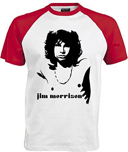 T-shirt the Doors maglietta jim morrison maglia rock music (L, Bianco Rosso)
