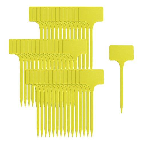COM-FOUR® 45x Pflanzenschilder, Pflanzenstecker zum Beschriften, Stecketiketten, 15 cm (45 Stück - gelb ohne Marker)