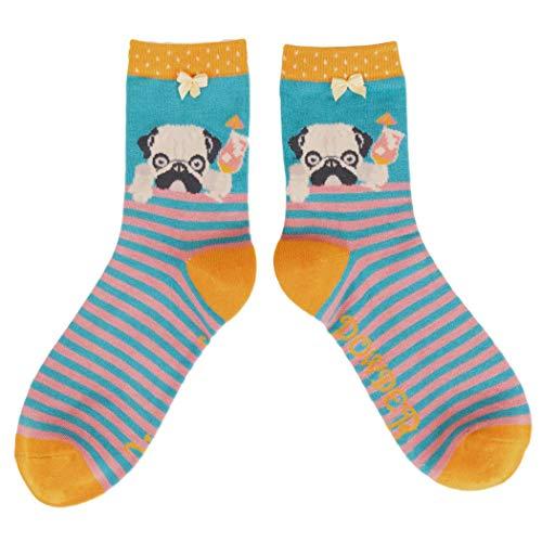 Purple Possum® Socken für Damen, Mops mit Cocktail, Senfgelb, weiche Bambus-Baumwoll-Mischung, Puderrosa und blau gestreift -