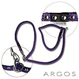 ARGOS Retrieverleine Violett, längenverstellbar, Hundeleine mit Elementen aus Edelstahl und schwarzem Lederbesatz