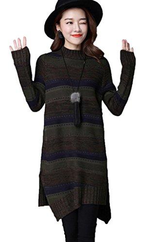 Smile YKK Pull Long Femme Tricoté Robe Mi-longue Automne Hiver Sweat Manche Longue Rayure Vert