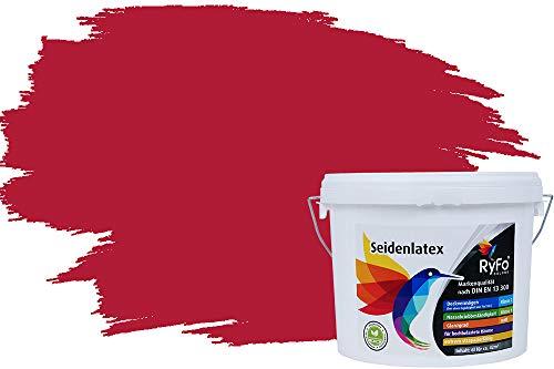 RyFo Colors Seidenlatex Trend Rottöne Weinrot 6l - bunte Innenfarbe, weitere Rot Farbtöne und Größen erhältlich, Deckkraft Klasse 1