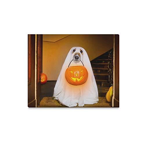 lerei Hund Sitzen Geist Halloween Haustür Drucke Auf Leinwand Das Bild Landschaft Bilder Öl Für Zuhause Moderne Dekoration Druck Dekor Für Wohnzimmer ()