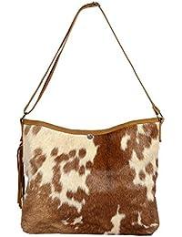 Priti High Quality Genuine Leather Hair On Handbag Tote Bag Travel Bag In Leather Women's Handbag