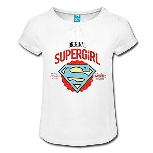 s Supergirl Logo Problem Solver Mädchen T-Shirt mit Raffungen, 8 Jahre, Weiß ()