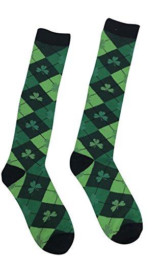St. Patricks Day Socken, Grün Argyle Kniestrümpfe mit Kleeblatten, für Damen und Herren (St Patrick Tag-socken)