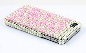 Rhinestone Diamond Hard Case for iPhone 4, 4S - Spots (Pearl/Pink)