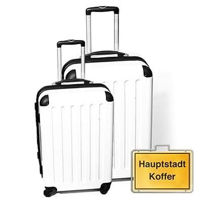 HAUPTSTADTKOFFER Jeu de 2 blanc (87Liter/130Liter) étui rigide dans une combinaison de couleurs à haute brillance, serrure à combinaison